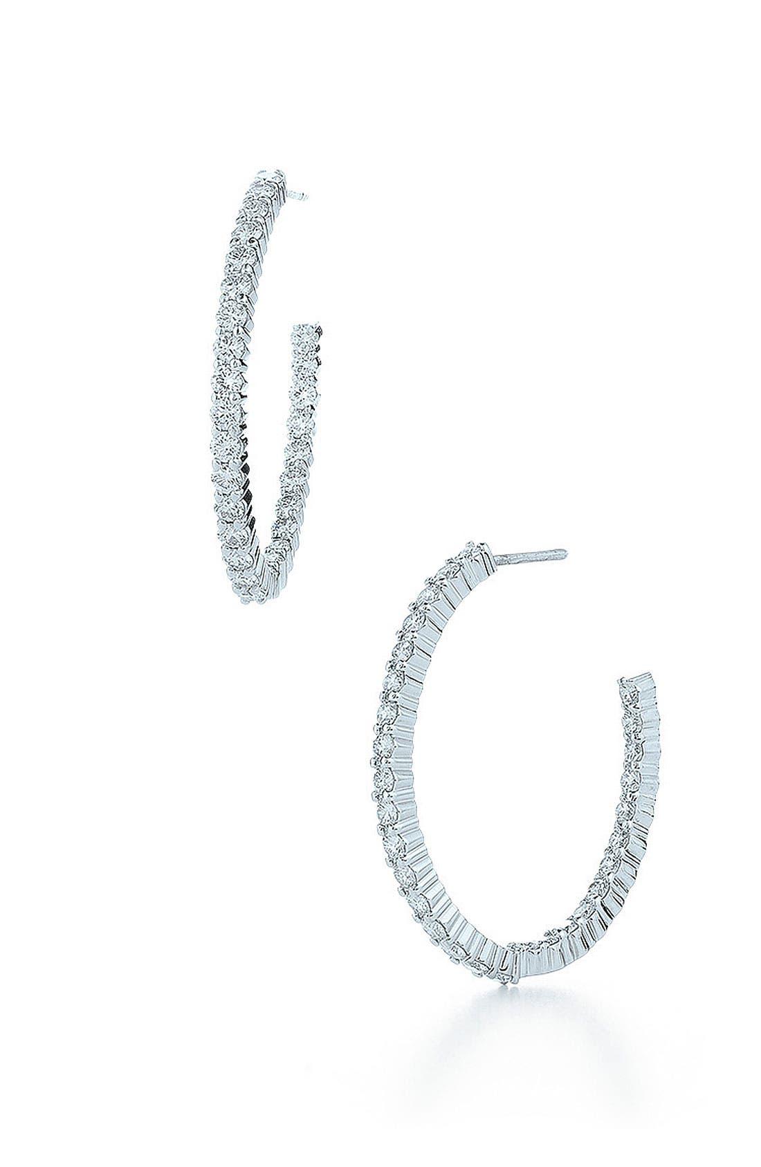 'Inside Out' Diamond Hoop Earrings, Main, color, WHITE GOLD