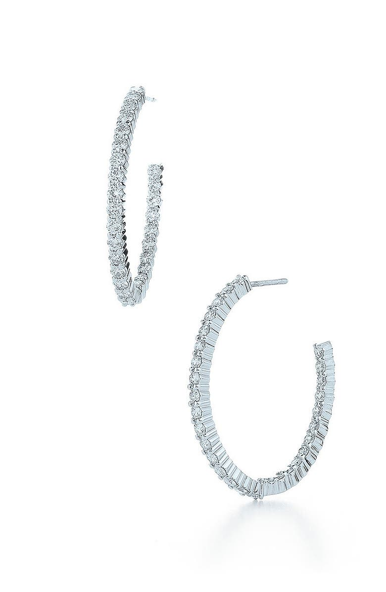 KWIAT 'Inside Out' Diamond Hoop Earrings, Main, color, WHITE GOLD