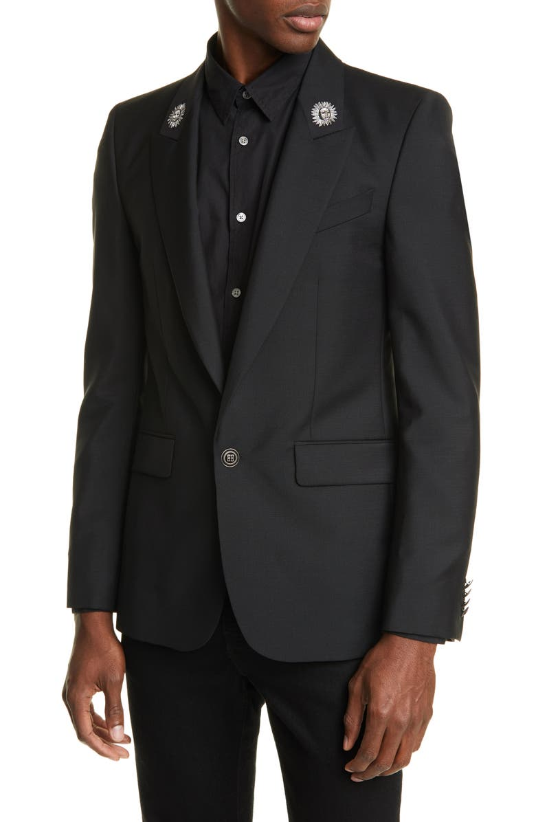 GIVENCHY Sun Embroidered Blazer, Main, color, BLACK