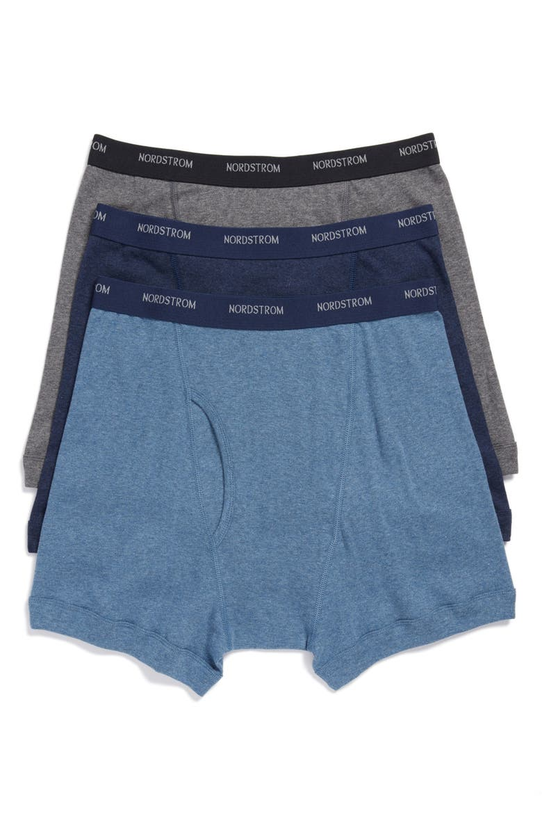 NORDSTROM MEN'S SHOP 3-Pack Supima<sup>®</sup> Cotton Boxer Briefs, Main, color, NAVY/ CHARCOAL/ BLUE
