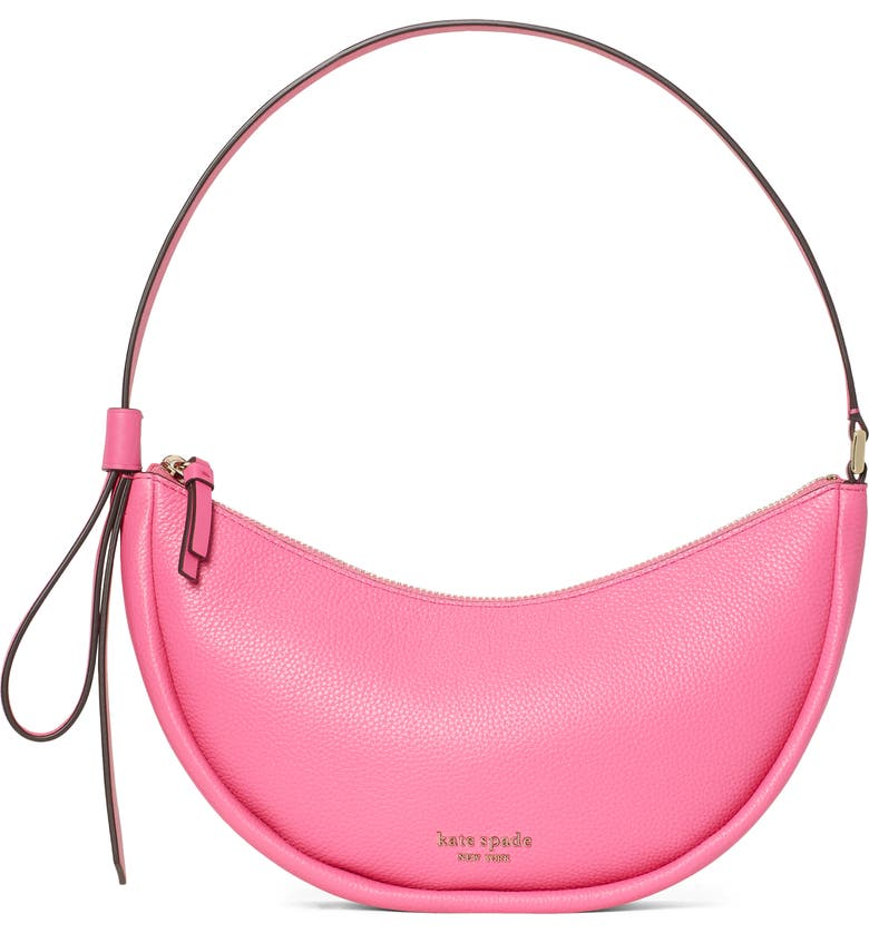 KATE SPADE NEW YORK smile small leather shoulder bag, Main, color, CRUSHED WATERMELON