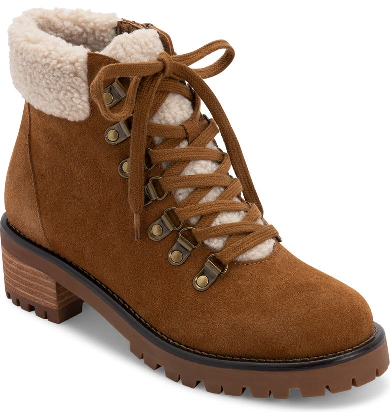 BLONDO Melissa Faux Shearling Cuff Waterproof Boot, Main, color, CAMEL SUEDE