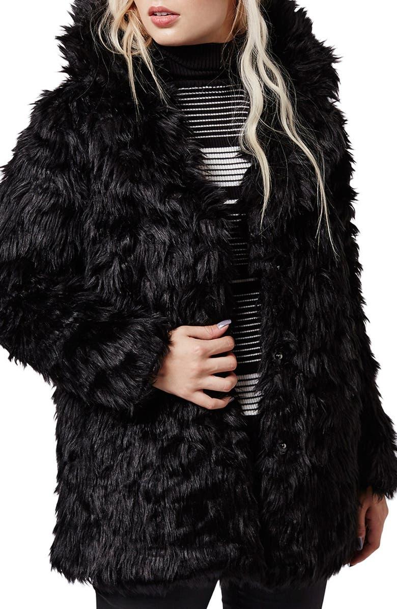 TOPSHOP Urban Shaggy Faux Fur Coat, Main, color, 001
