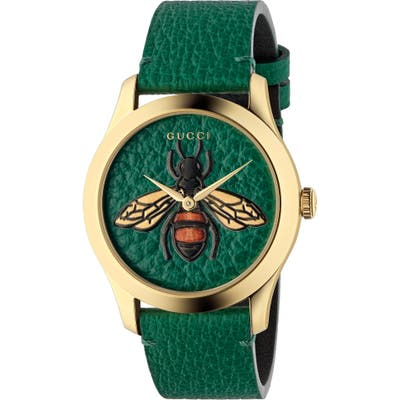 Gucci G-Timeless Leather Strap Watch,