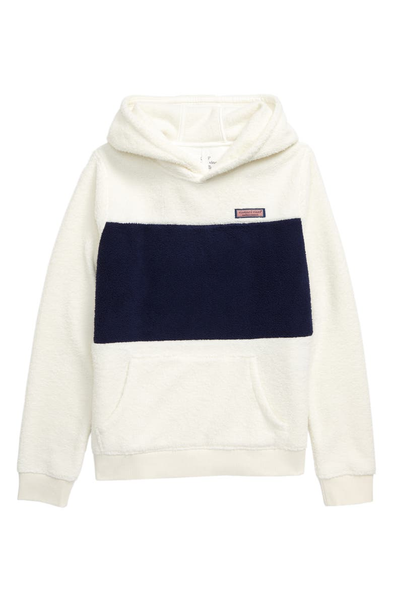 VINEYARD VINES Fuzzy Colorblock Hoodie, Main, color, MARSHMALLOW