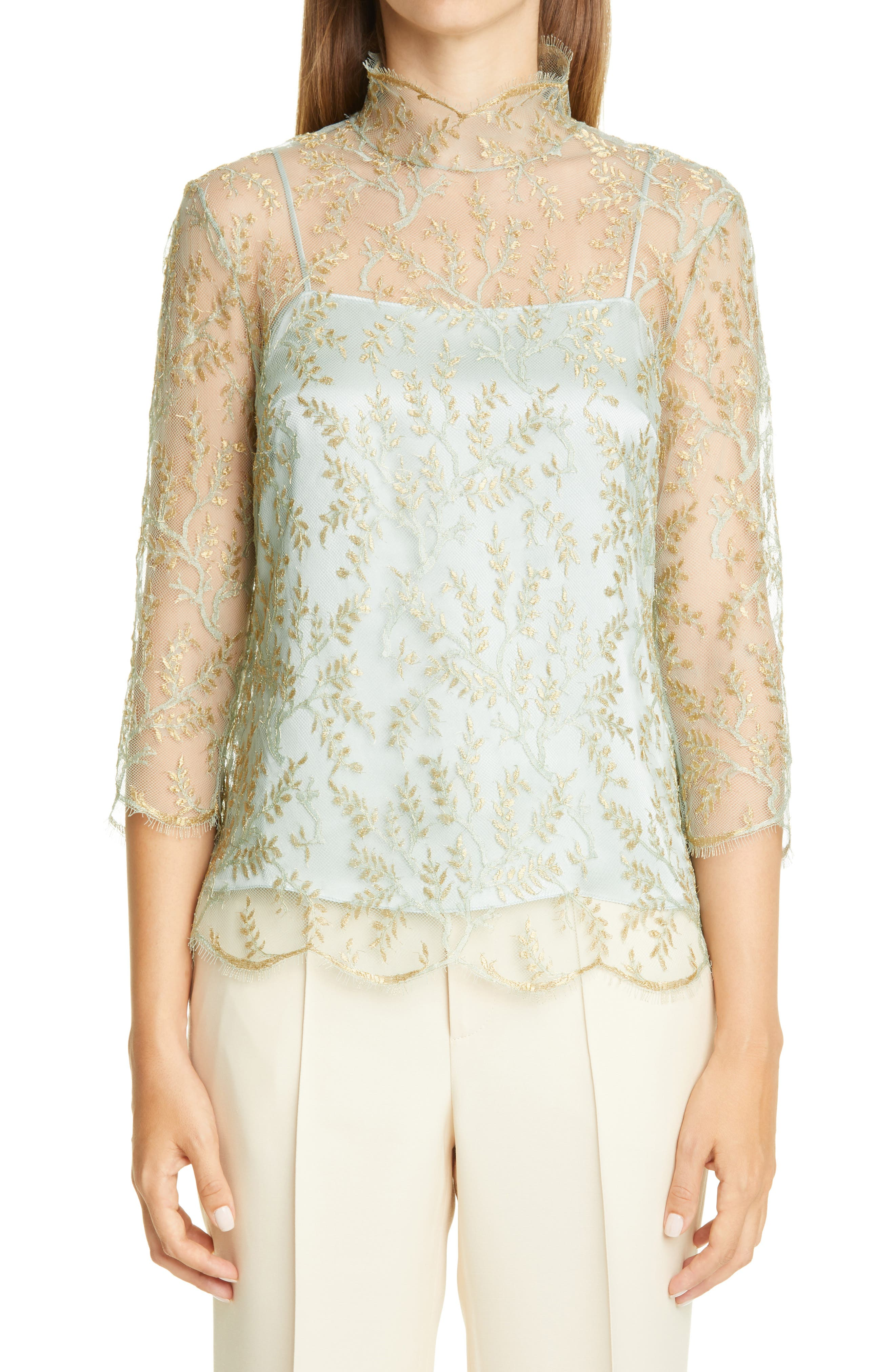 Image of Adam Lippes Layered Chantilly Lace Blouse