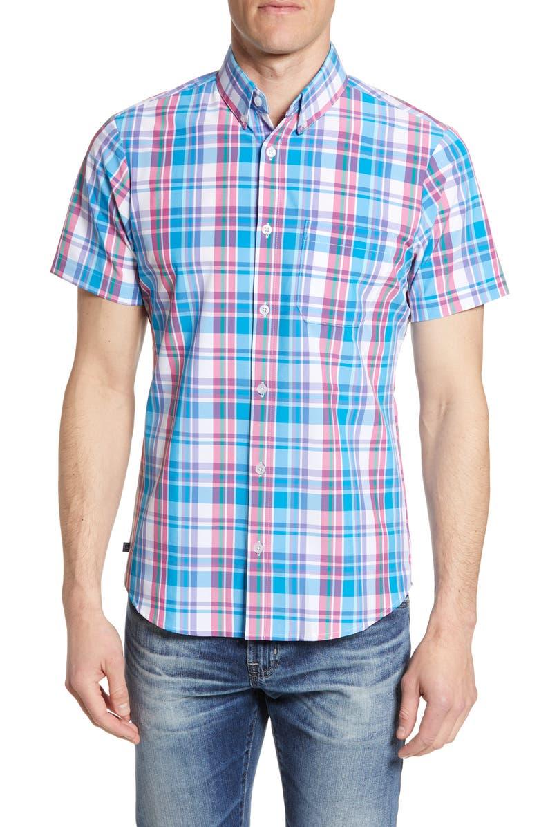 MIZZEN+MAIN Chase Trim Fit Plaid Performance Shirt, Main, color, 436