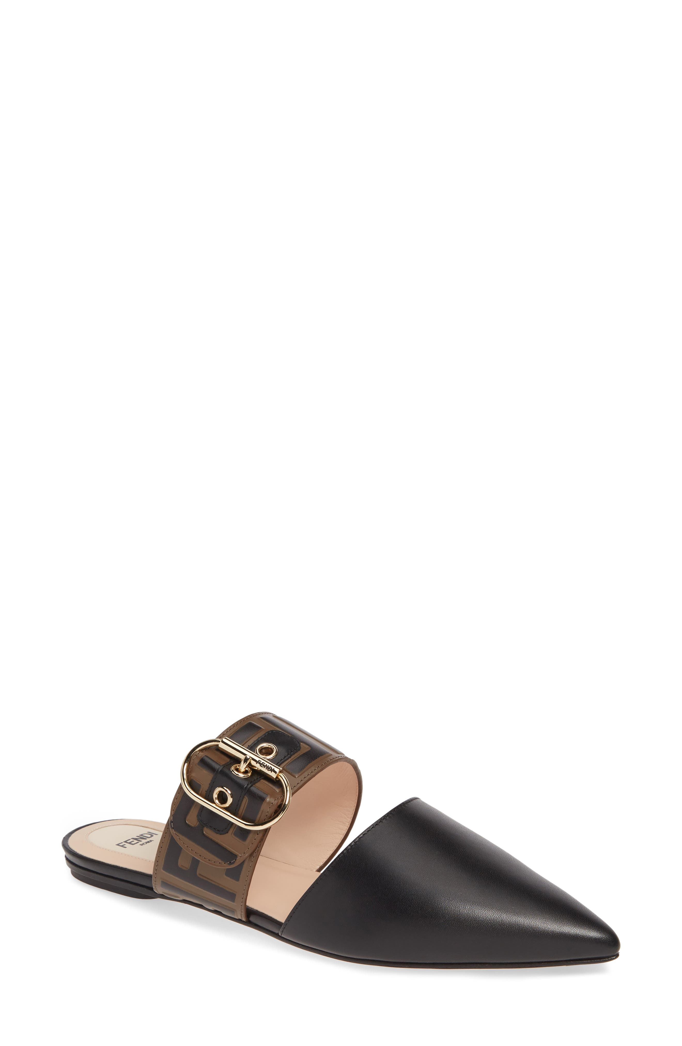 Pre-order this style today! Add to Shopping Bag to view approximate ship date. You\\\'ll be charged only when your item ships. Debossed logo detailing brings pattern and dimension to the buckle strap wrapping a two-part flat mule finished with a solid pointy toe. Style Name: Fendi Ff Buckle Mule (Women). Style Number: 5857735. Available in stores.