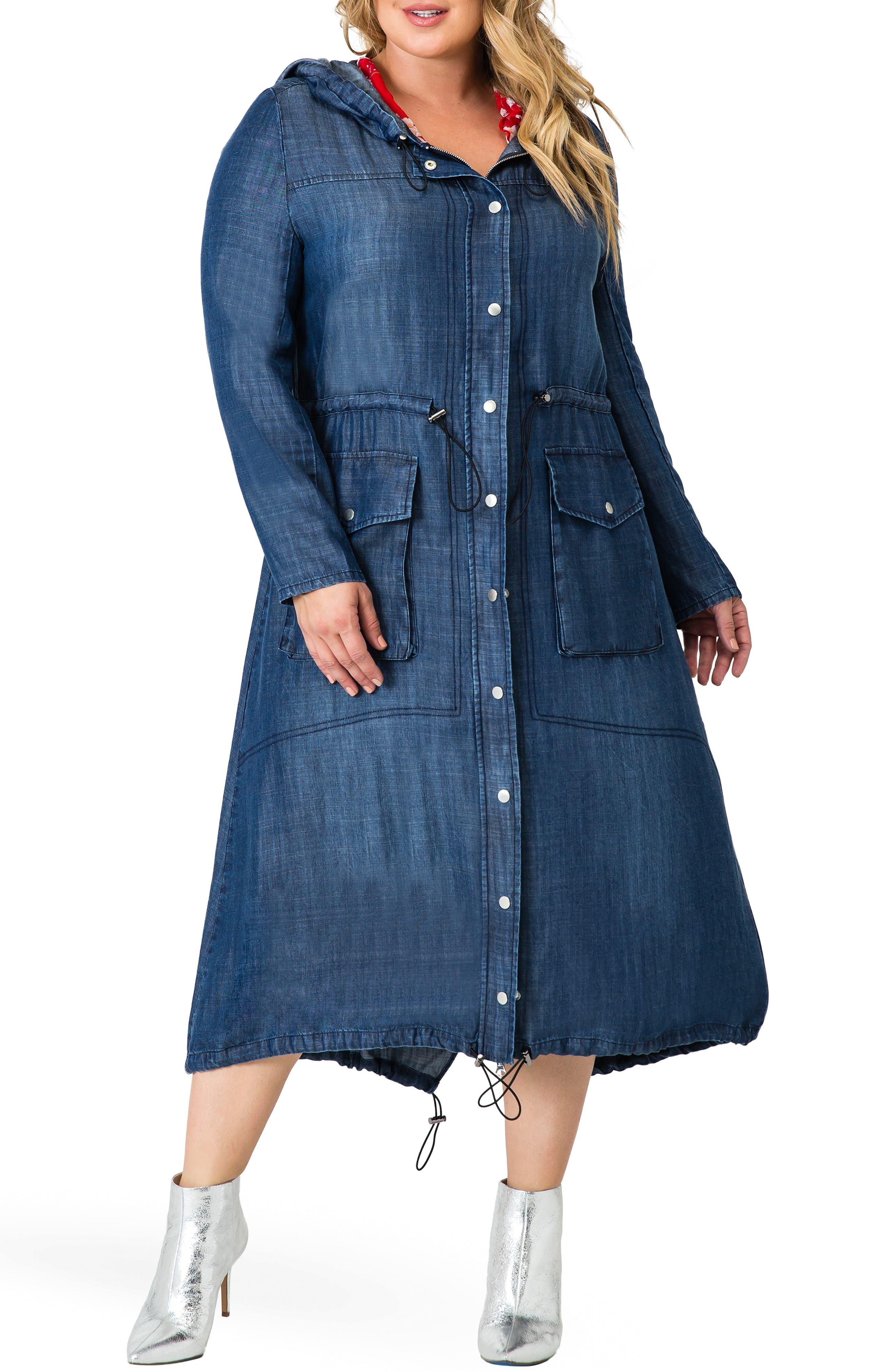 plus size women's standards & practices nova tencel hooded dress