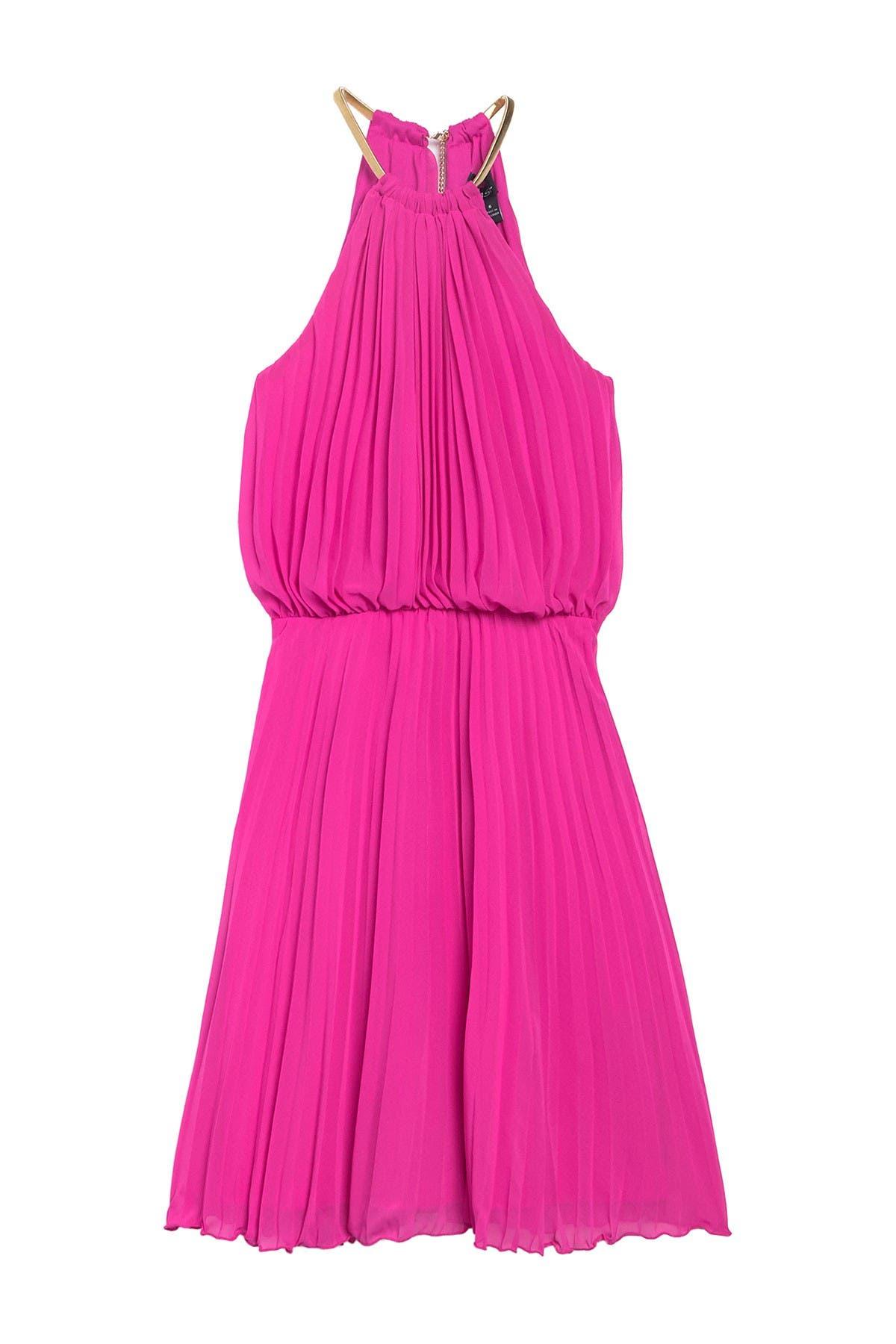 New $229 Msk Women Beige Pink Blue Floral Pleated Halter Cocktail Dress Size 12