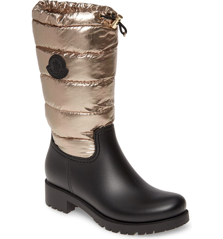MONCLER Ginette Puffer Rain Boot, Main, color, GOLD