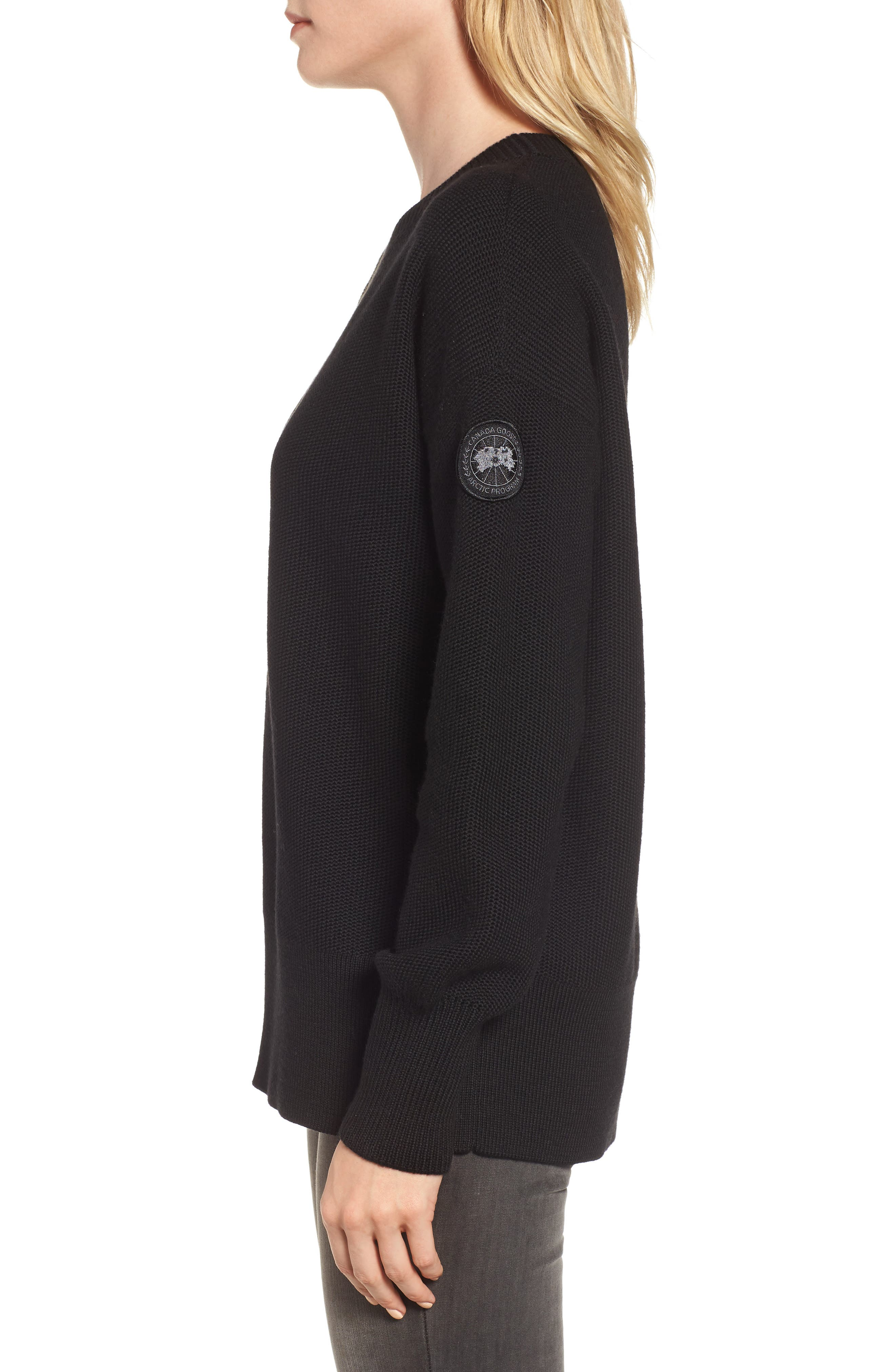 ,                             Aleza Merino Wool Sweater,                             Alternate thumbnail 3, color,                             BLACK