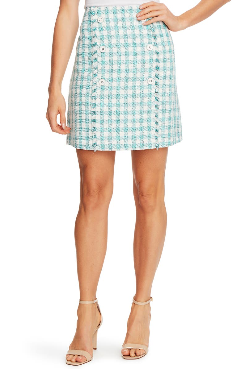 CECE Tweed Miniskirt, Main, color, SOFT ECRU
