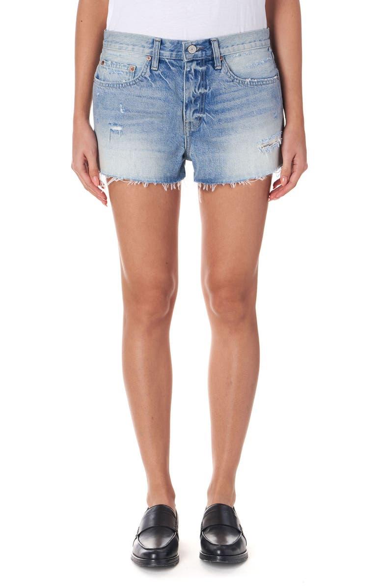 TRAVE Vesper Ripped Cutoff Denim Shorts, Main, color, 420