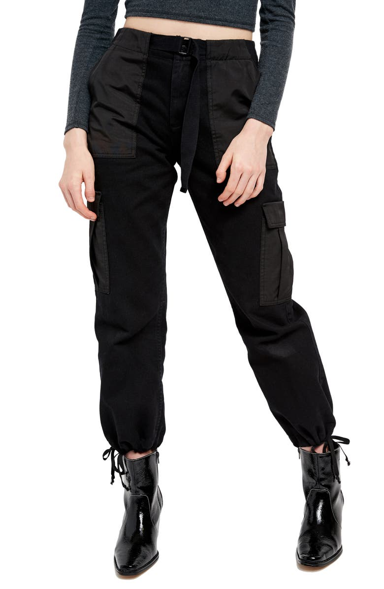 BDG URBAN OUTFITTERS Belted Twill Cargo Pants, Main, color, BLACK