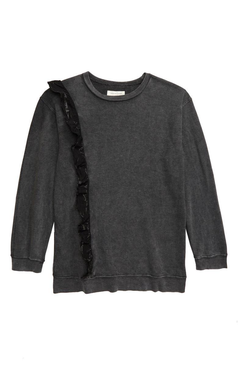 TREASURE & BOND Ruffle Sweatshirt, Main, color, 001