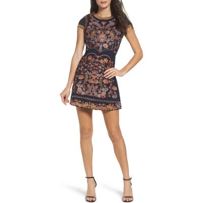 Foxiedox Hadiya Embroidered A-Line Dress, Blue