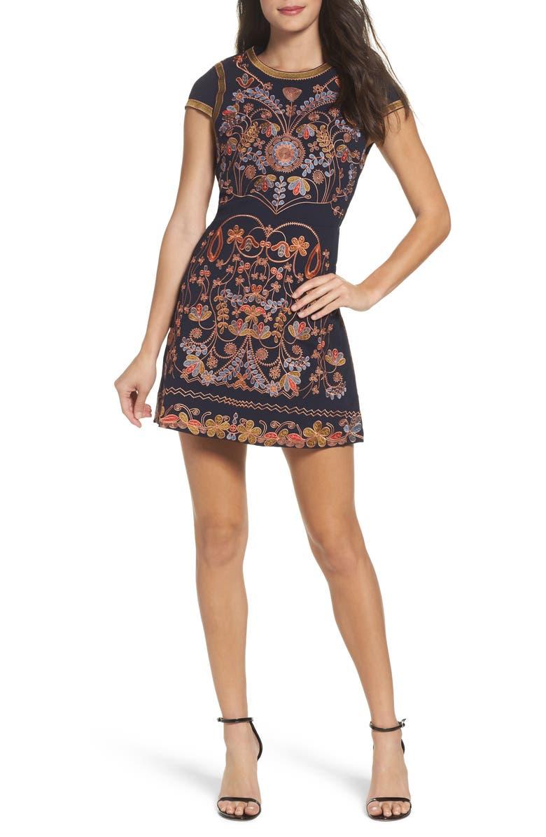FOXIEDOX Hadiya Embroidered A-Line Dress, Main, color, HADIYA MULTI