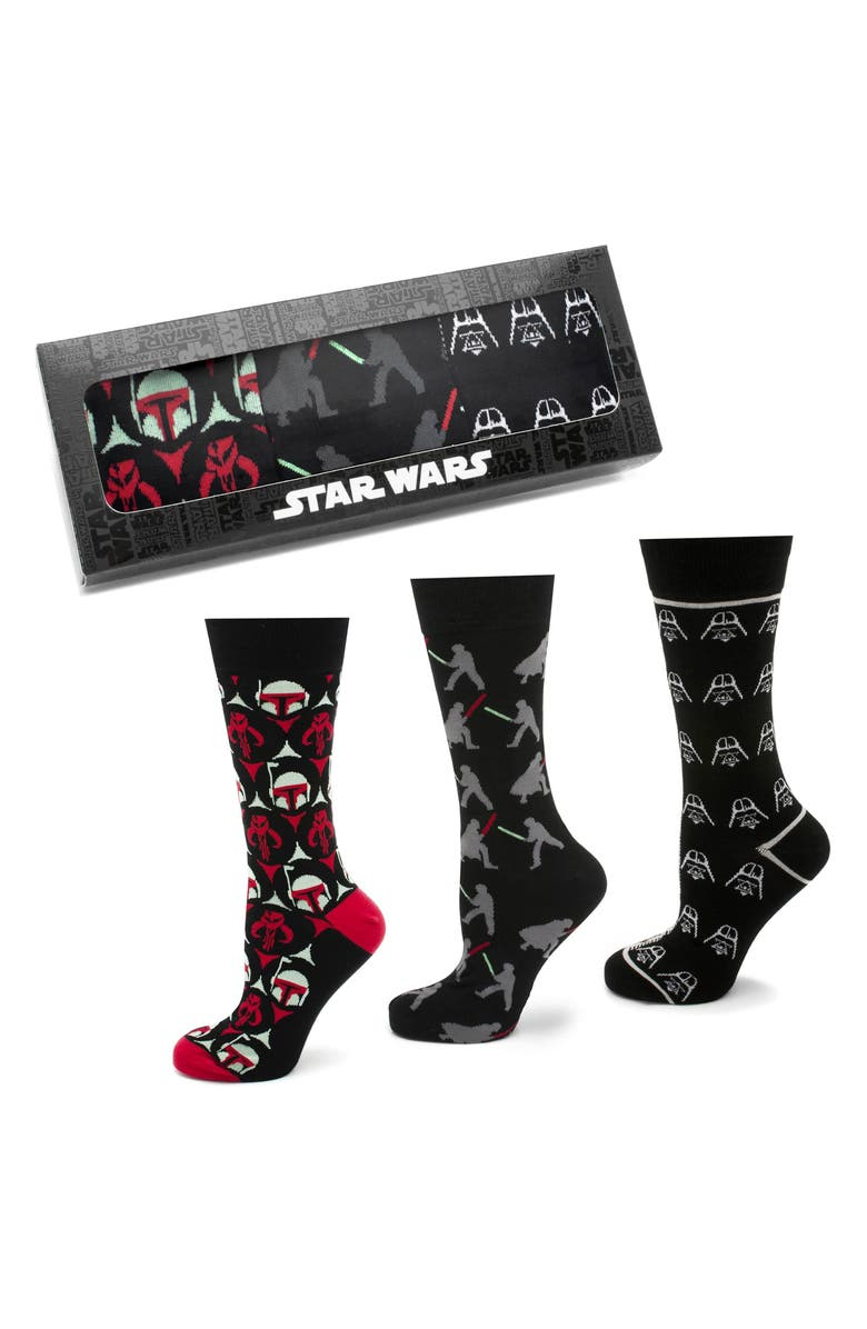 CUFFLINKS, INC. 'Empire Strikes Back' 3-Pack Socks, Main, color, BLACK