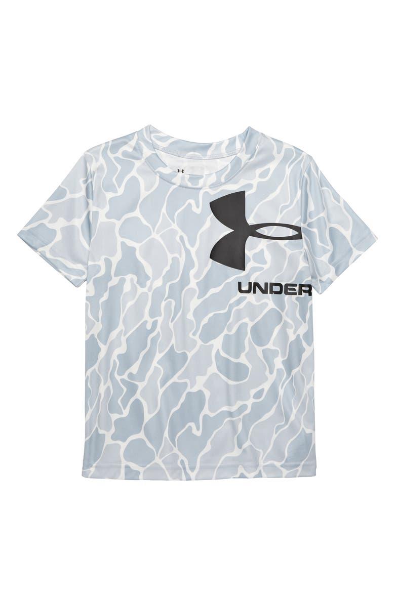 UNDER ARMOUR Diverge Multi Logo T-Shirt, Main, color, MOD GRAY