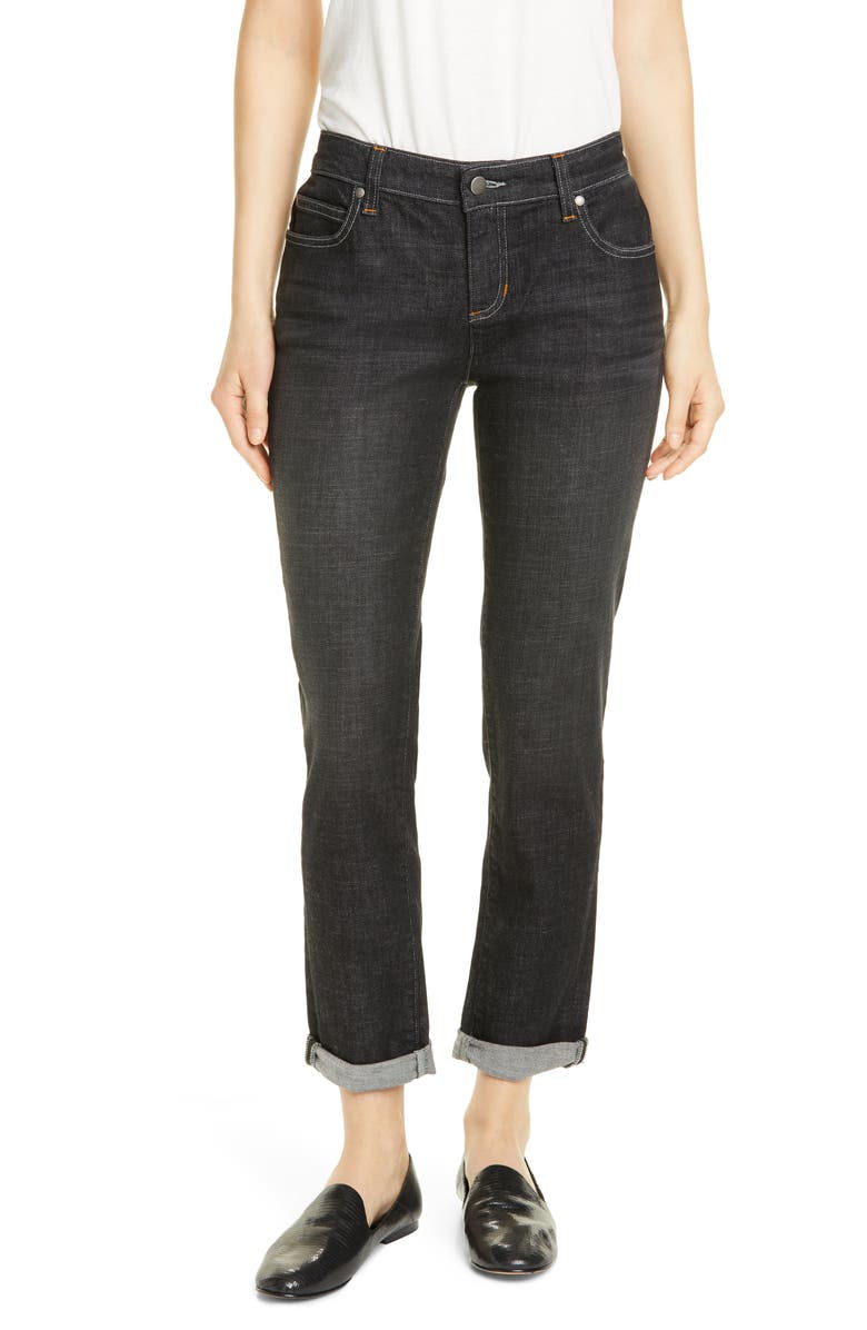 EILEEN FISHER High Waist Boyfriend Jeans, Main, color, BLACK