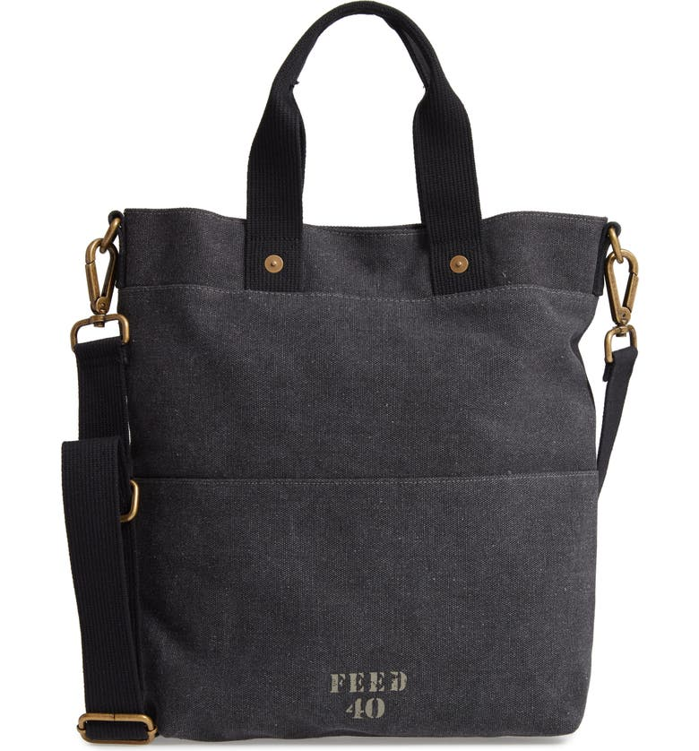 FEED Go To Canvas Bag, Main, color, DISTRESSED BLACK