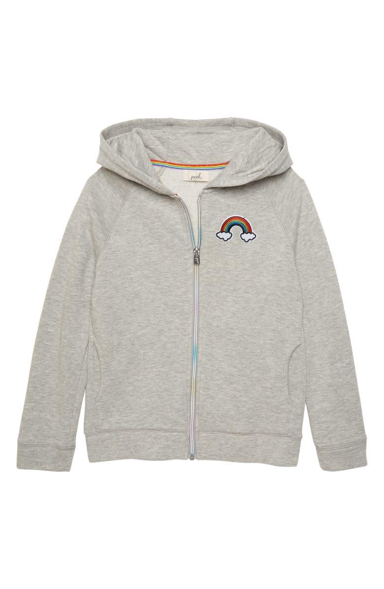 PEEK AREN'T YOU CURIOUS Rainbow Full Zip Hoodie, Main, color, GREY HEATHER