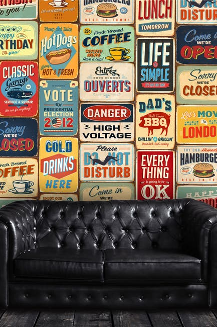 Image of WalPlus Multi Wall Sticker Decal Vintage Metal Signs