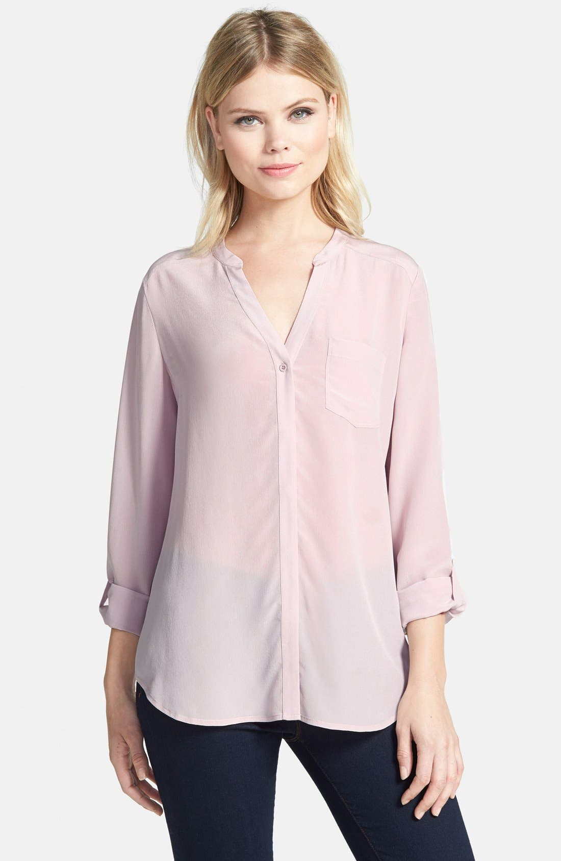 ,                             Collarless Silk Blouse,                             Main thumbnail 79, color,                             680