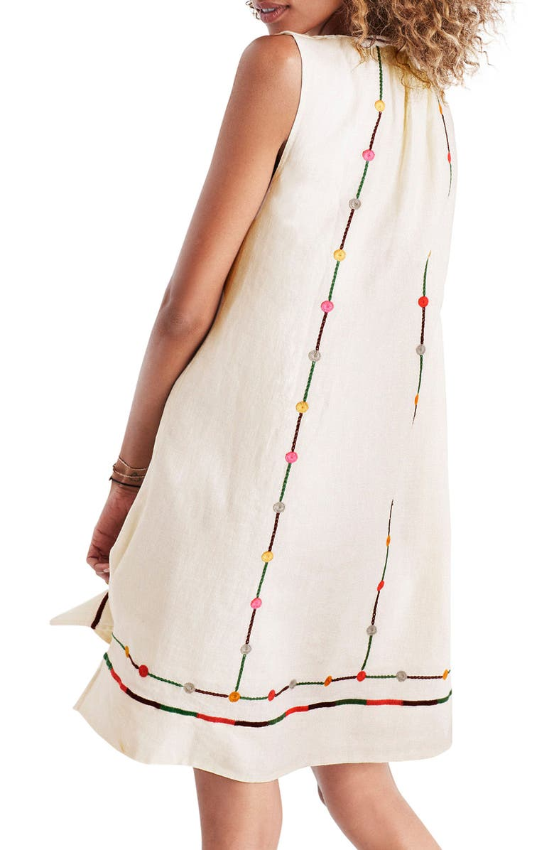 MADEWELL Willow Embroidered Shift Dress, Main, color, 250