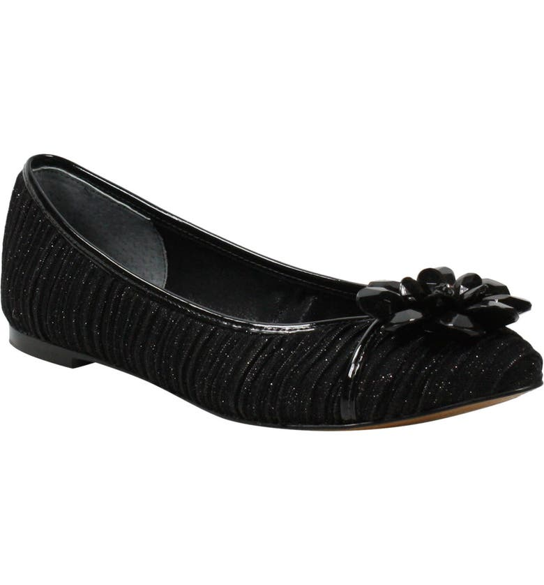 J. RENEÉ Panyin Skimmer Flat, Main, color, BLACK GLITTER FABRIC