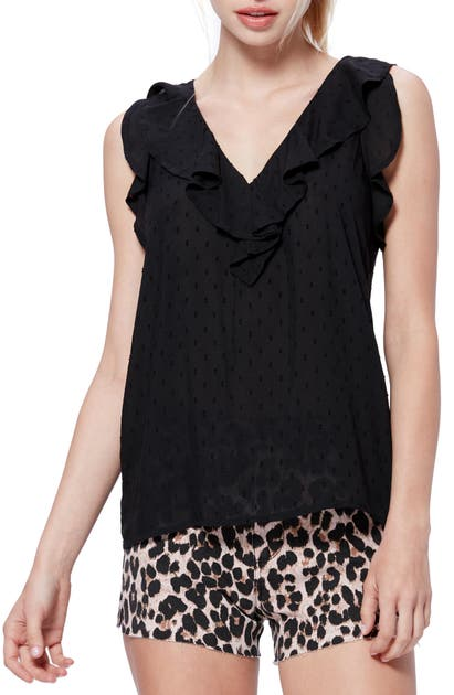 Paige Tops FARFALLA RUFFLE DETAIL SLEEVELESS BLOUSE