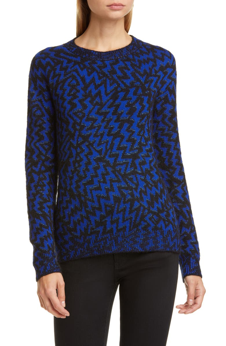 SAINT LAURENT Shimmer Chevron Wool & Mohair Blend Sweater, Main, color, NOIR/ BLEU/ ARGENT