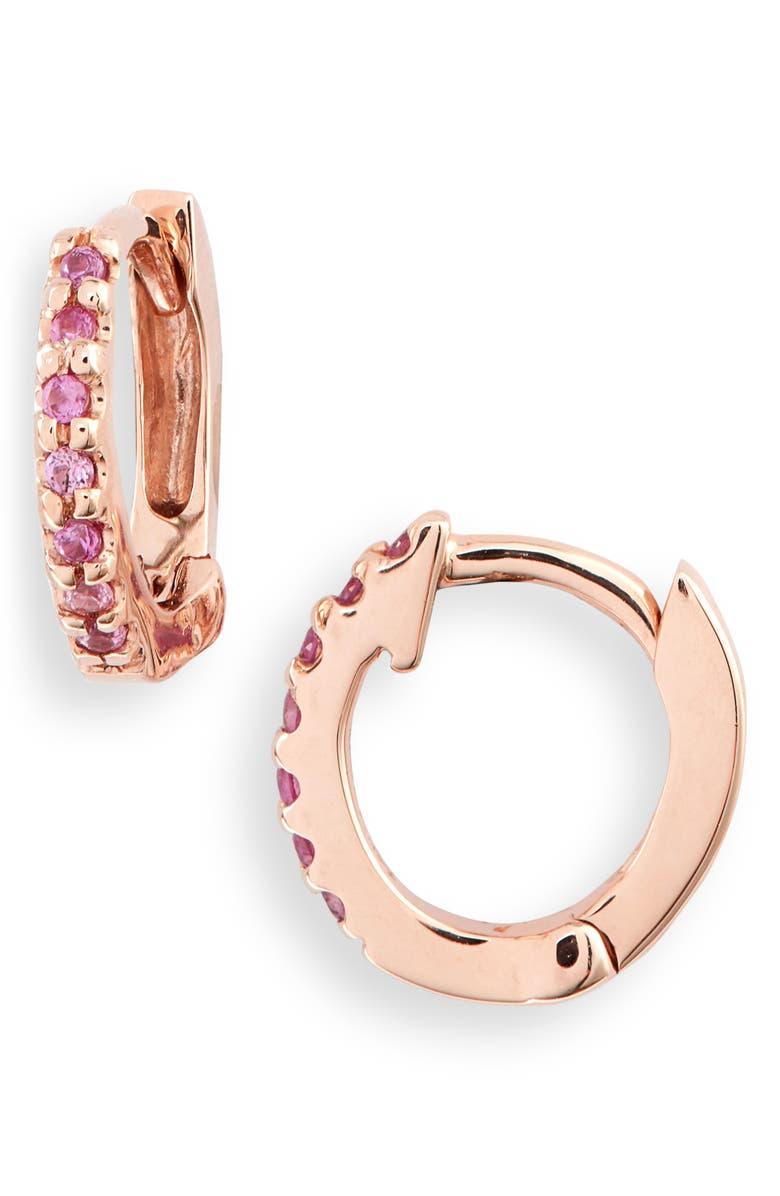 DANA REBECCA DESIGNS Sapphire Huggie Hoop Earrings, Main, color, ROSE GOLD/ DIAMOND