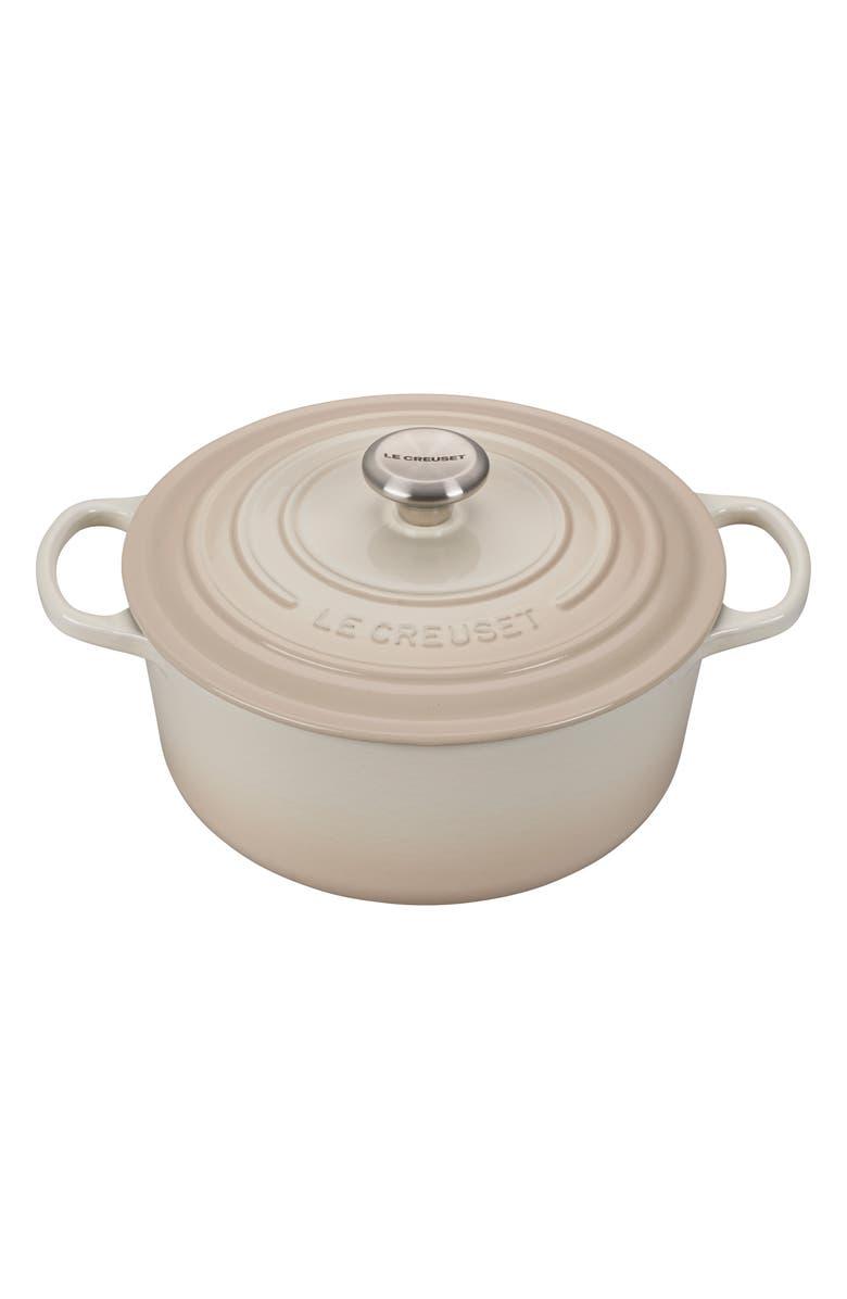 LE CREUSET Signature 5 1/2 Quart Round Enamel Cast Iron French/Dutch Oven, Main, color, MERINGUE