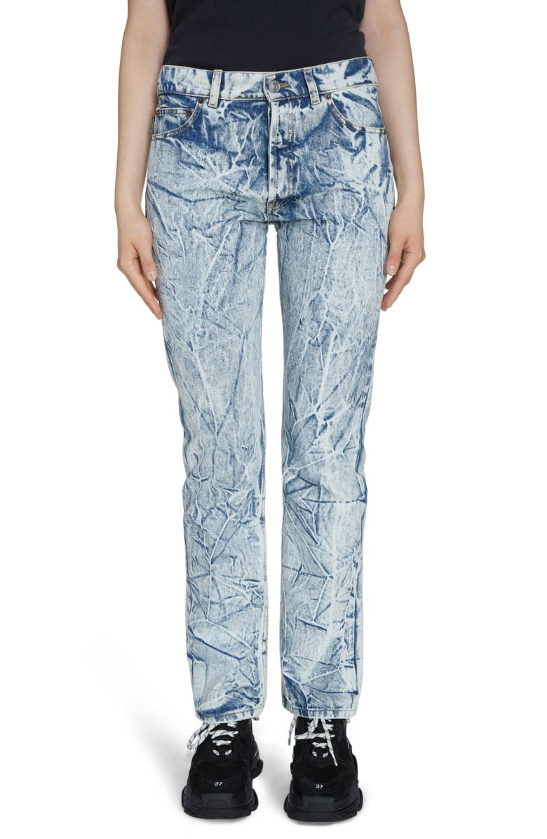 BALENCIAGA Crinkle Wash Straight Leg Jeans, Main, color, CRINKLE WASH