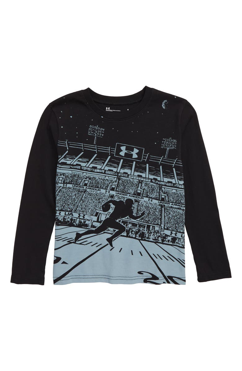 UNDER ARMOUR Long Sleeve Football T-Shirt, Main, color, BLACK