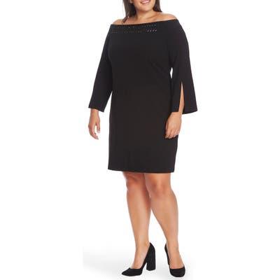 Plus Size Vince Camuto Embellished Off The Shoulder Long Sleeve Dress, Black