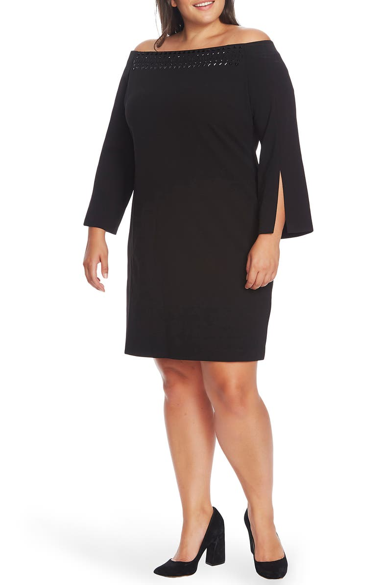 VINCE CAMUTO Embellished Off the Shoulder Long Sleeve Dress, Main, color, RICH BLACK
