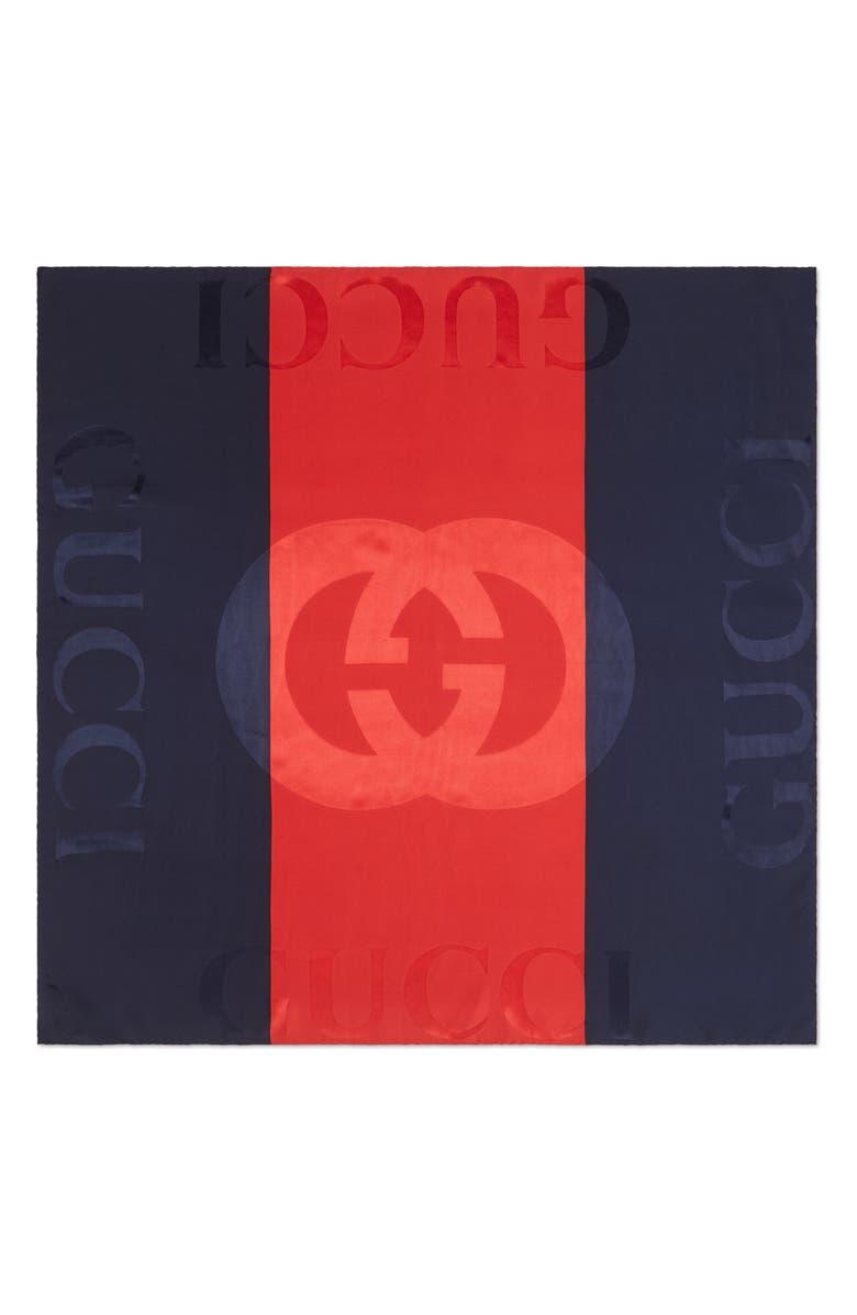GUCCI Web Print Jacquard Silk Twill Scarf, Main, color, NAVY/ RED