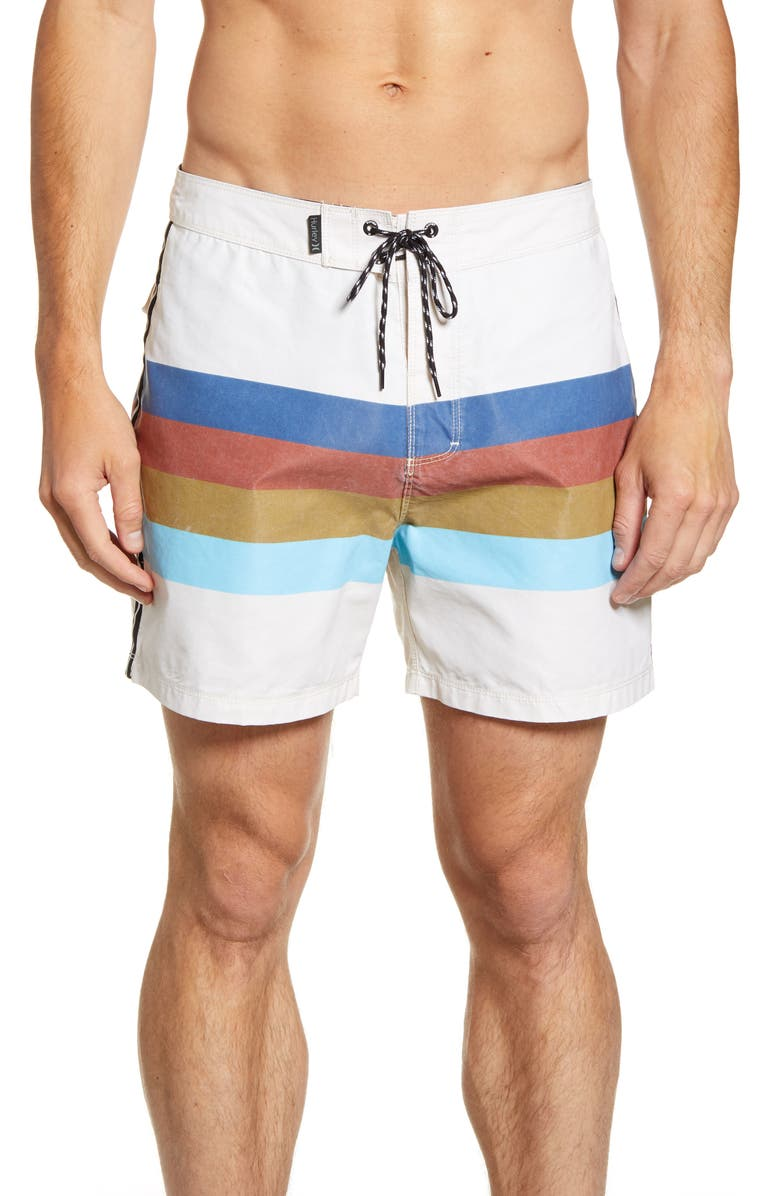 HURLEY RJS Stripe Board Shorts, Main, color, PALE IVORY