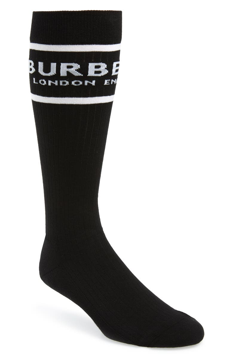 BURBERRY Sport Crew Socks, Main, color, BLACK