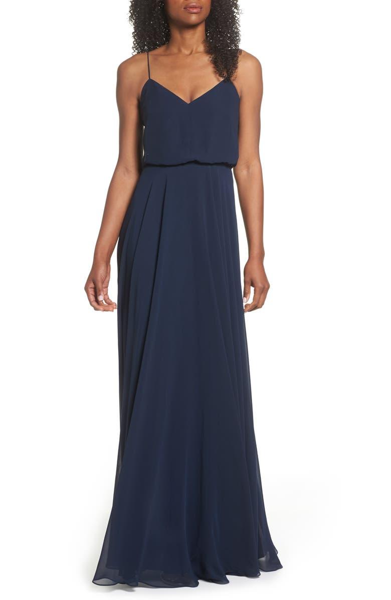 JENNY YOO Inesse Chiffon V-Neck Spaghetti Strap Gown, Main, color, NAVY
