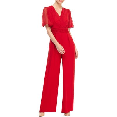 Gal Meets Glam Collection Brielle Clip Dot Chiffon Jumpsuit, Red