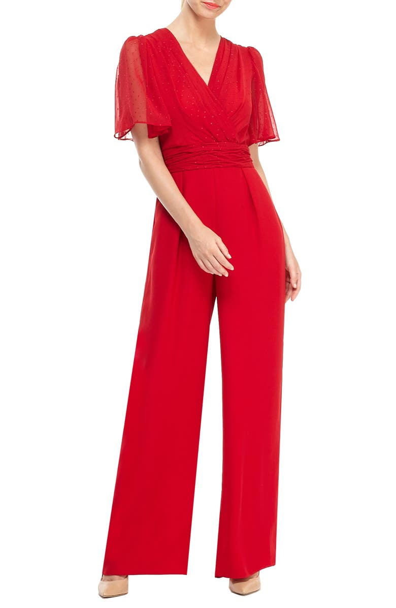 GAL MEETS GLAM COLLECTION Brielle Clip Dot Chiffon Jumpsuit, Main, color, RUBY