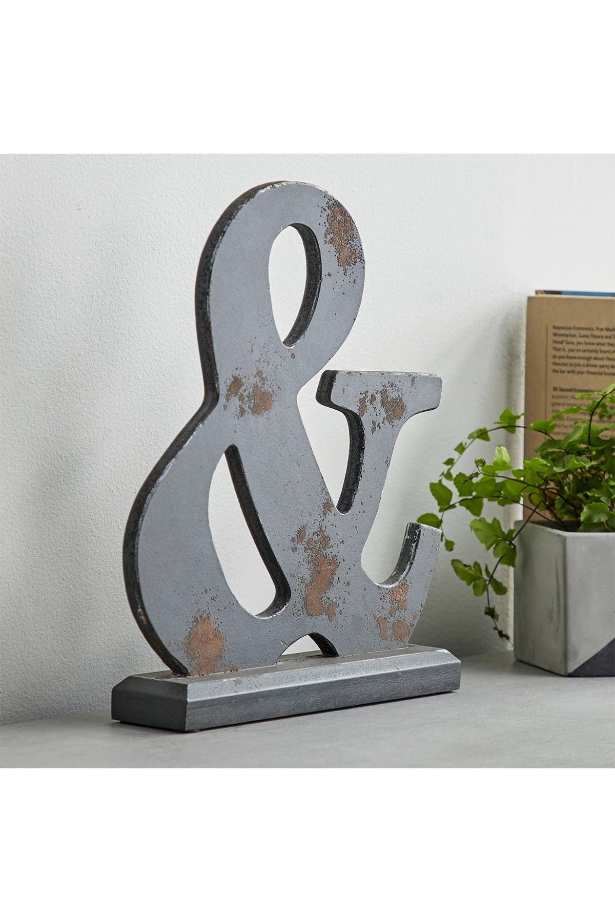 Image of CosmoLiving by Cosmopolitan Deep Espresso/Bronze Distressed Ampersand Symbol Sculpture