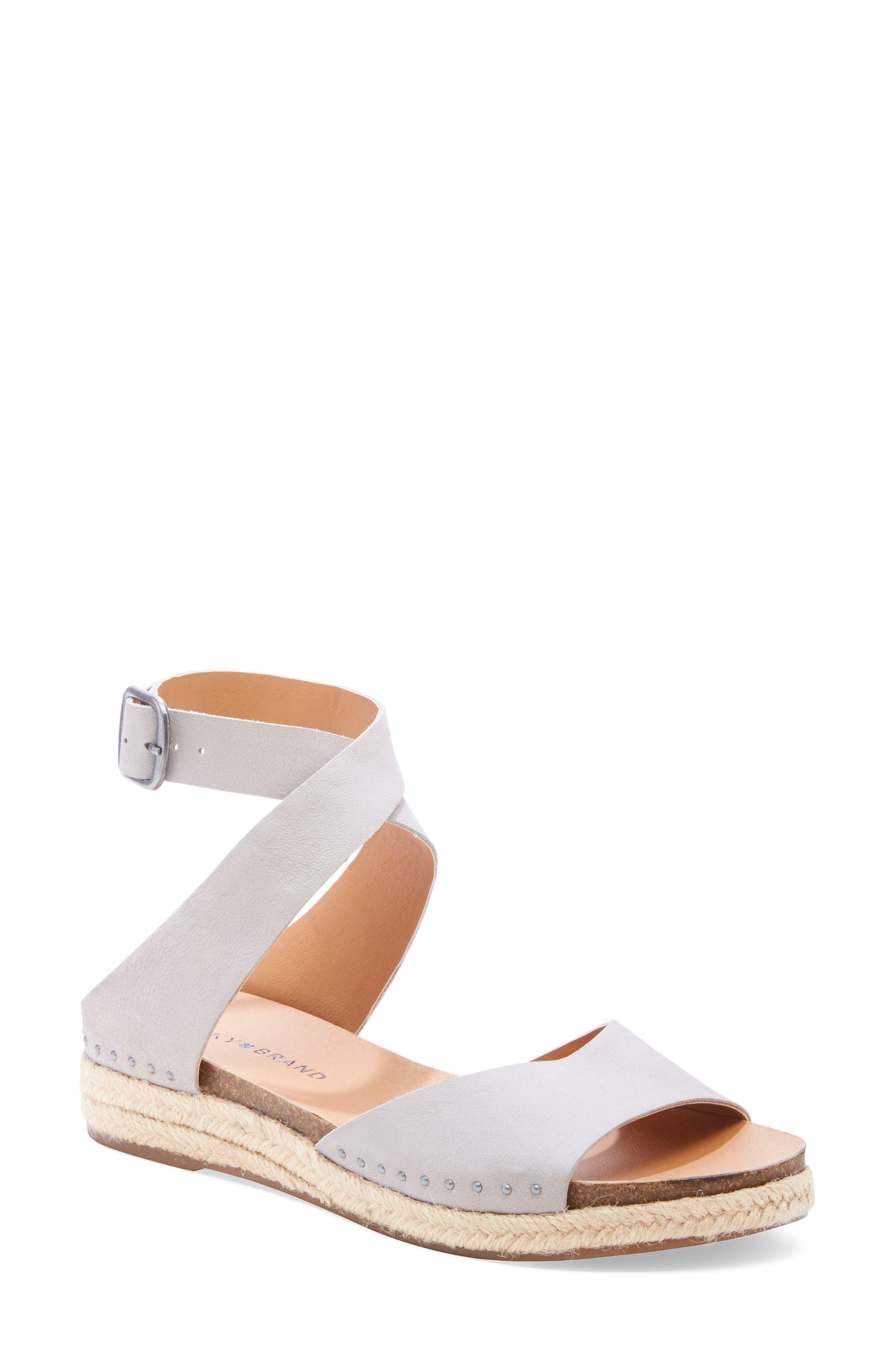 Gladas Wedge Espadrille Sandal, Main, color, CHINCHILLA LEATHER