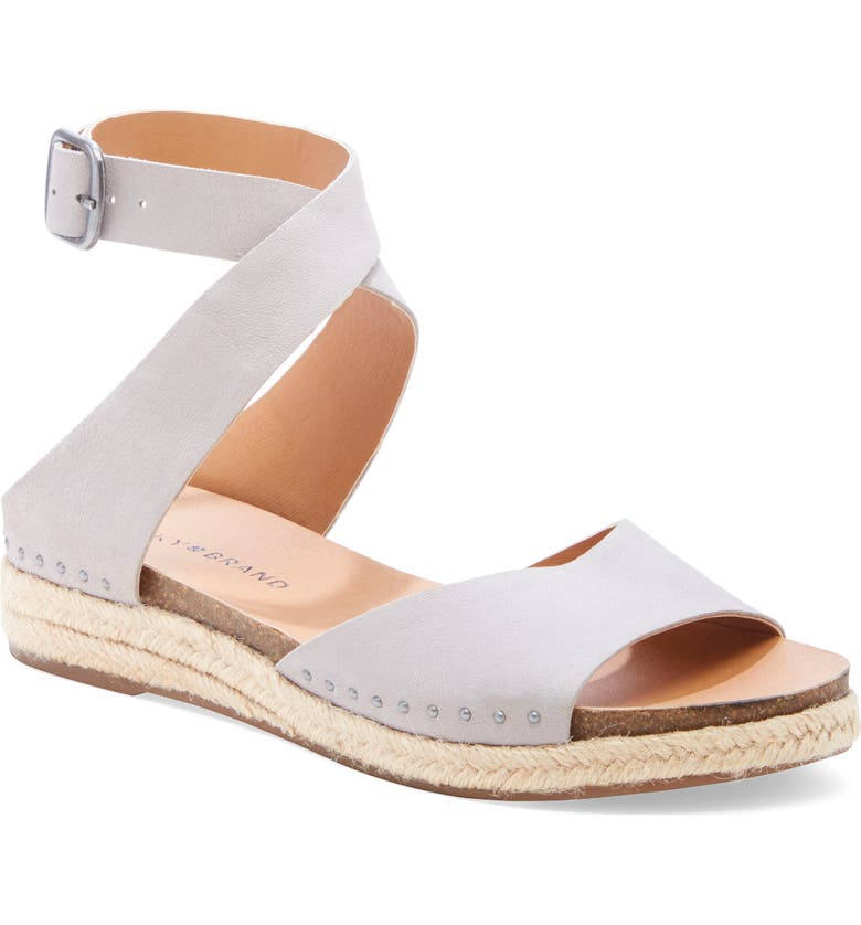 LUCKY BRAND Gladas Wedge Espadrille Sandal, Main, color, CHINCHILLA LEATHER