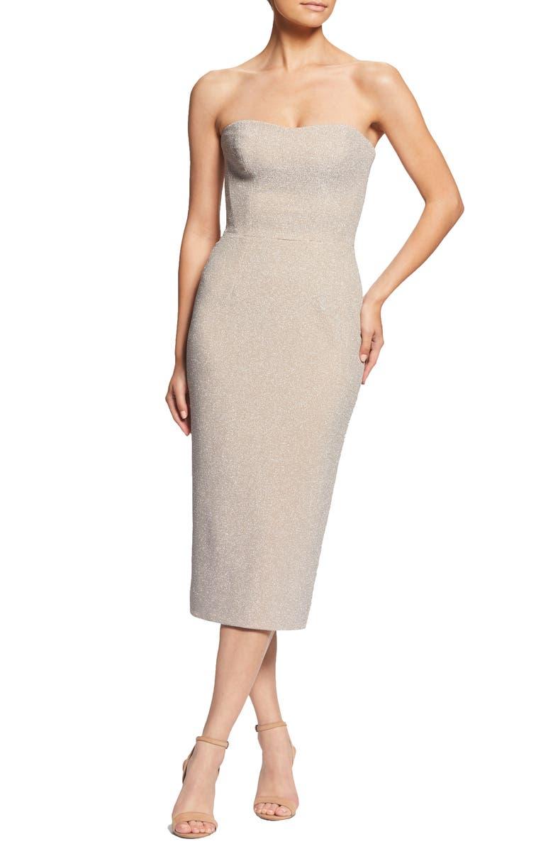 DRESS THE POPULATION Claire Metallic Body-Con Midi Dress, Main, color, 040