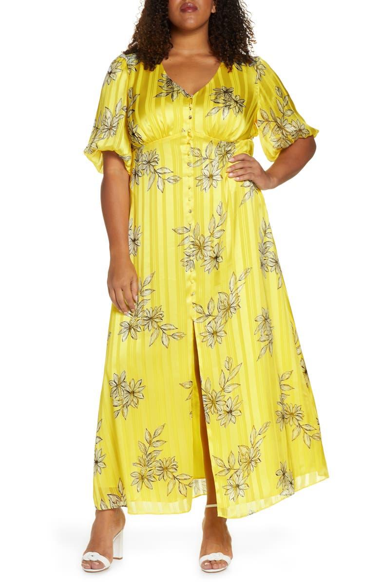 MARÉE POUR TOI Floral & Metallic Stripe Button Front Maxi Dress, Main, color, YELLOW